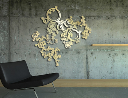 Décoration murale : Bijou de mur Volute Gold, design Sophie Briand-Collet