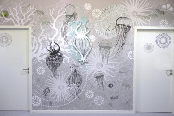 Art mural monumental, composition murale personnalisée, décor panoramique unique, trompe l'œil contemporain, décor unique, design mural de Sophie Briand.