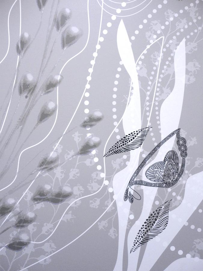 Design mural très grand format, graphismes sur murs et plafonds, décoration murale personnalisée, habillage mural sur mesure. Pièce unique.