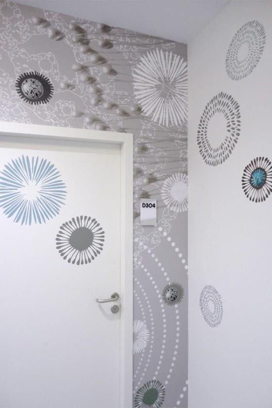 Décoration murale sur mesure, création murale personnalisée, fresque design imprimée , habillage mural contemporain, design mural de Sophie Briand