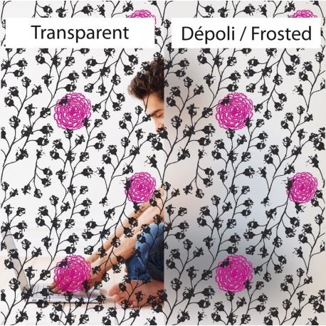 Film décoratif pour vitres. Motif végétal et floral, design Sophie Briand-Collet.