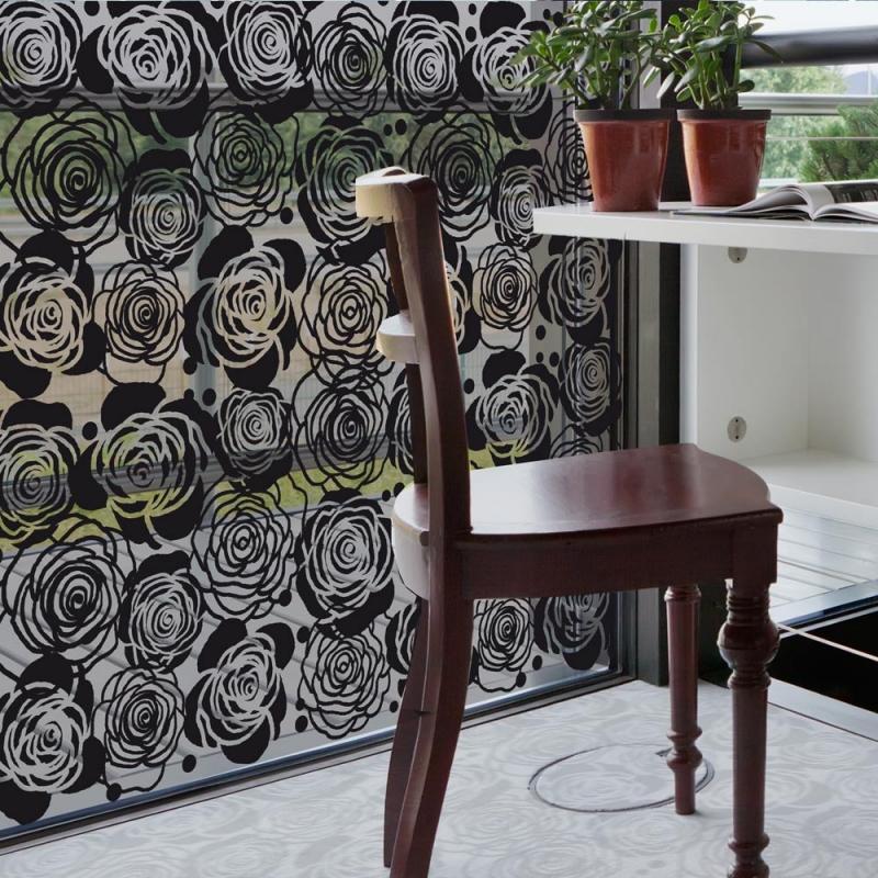 """Film décoratif pour vitres. Motif floral """"Roses"""", design Sophie Briand-Collet"""
