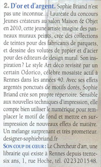 Article publié dans Côté Ouest. Rencontre avec Sophie Briand-Collet, designer.