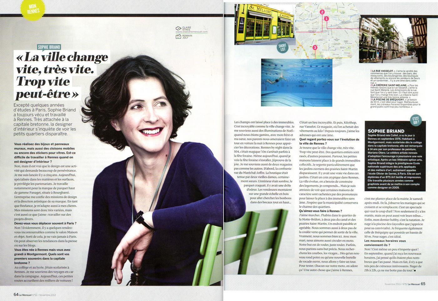 Interview de la designer Sophie Briand pour le magazine Le Mensuel de Rennes (nov. 2013)