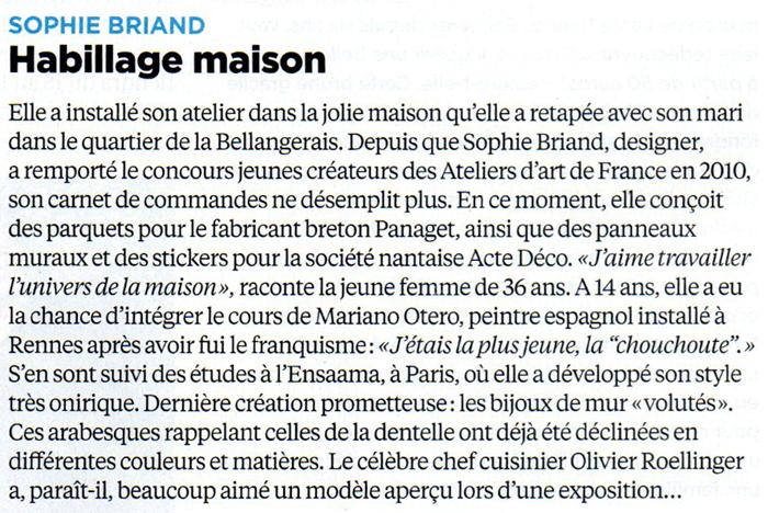 """Article publié dans Le Nouvel Observateur. Rennes : 40 femmes qui font bouger la ville. """"Sophie Briand, Habillage maison"""""""