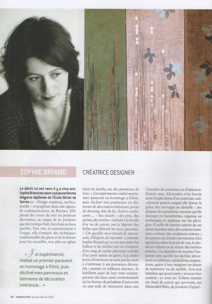 Article publié dans la revue Ateliers d'Art. Sophie Briand, créatrice designer.