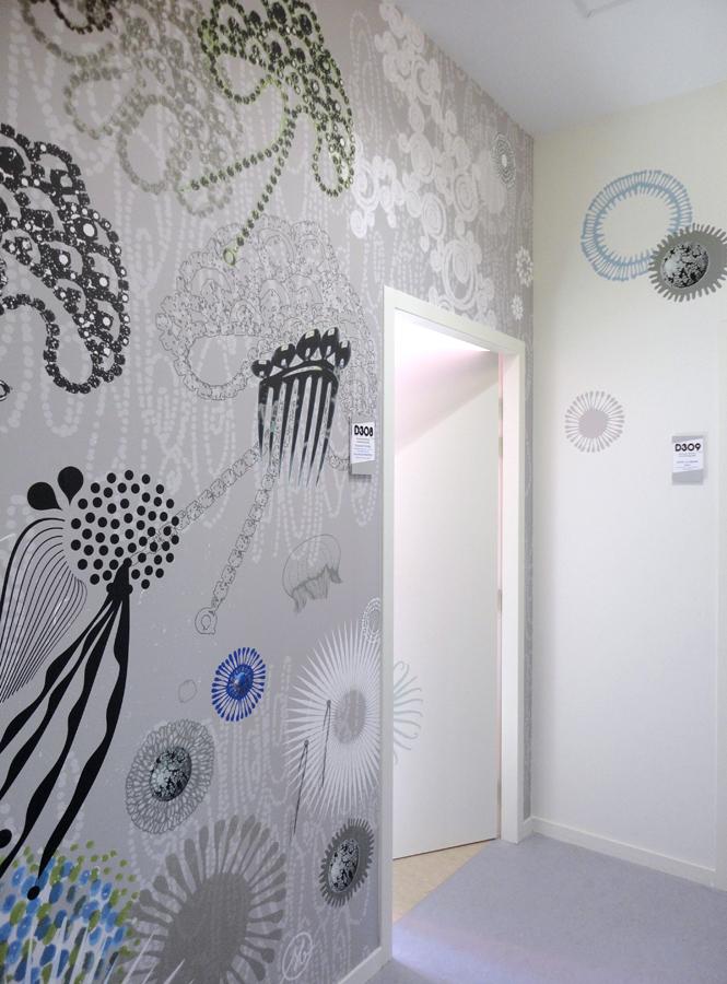 Création murale très grand format, décor peint, fresque design imprimée sur toile, décoration murale sur mesure et personnalisée, fresque contemporaine, graphisme d'espace, design mural de Sophie Briand