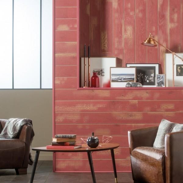 Habillage mural en bois peint et usé, vieilli. Décoration murale.