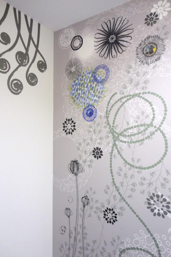Décor mural panoramique, décor imprimé, graphismes sur murs et plafonds, papier peint personnalisé. Tapisserie personnalisée. Design mural de Sophie Briand