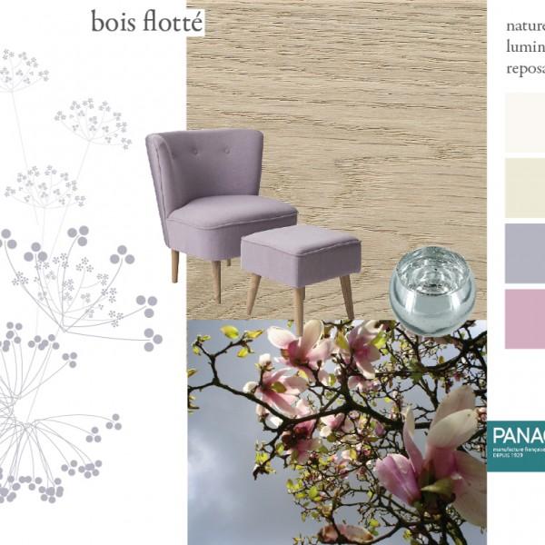 Parquet chêne Bois flotté, collections Panaget / Idées déco : ambiance baignée de lumière naturelle, avec des blancs poudrés et des couleurs pastels pour créer un intérieur d'une grande douceur.