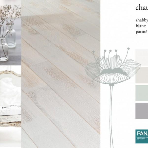 Parquet chêne Chaux, collections Panaget / Idées déco : une ambiance inondée de blanc et de verts tendres pour un intérieur de style Shabby chic.