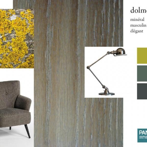 Parquet chêne Dolmen, collections Panaget / Idées déco : des teintes minérales pour un intérieur masculin, à l'esprit dandy.