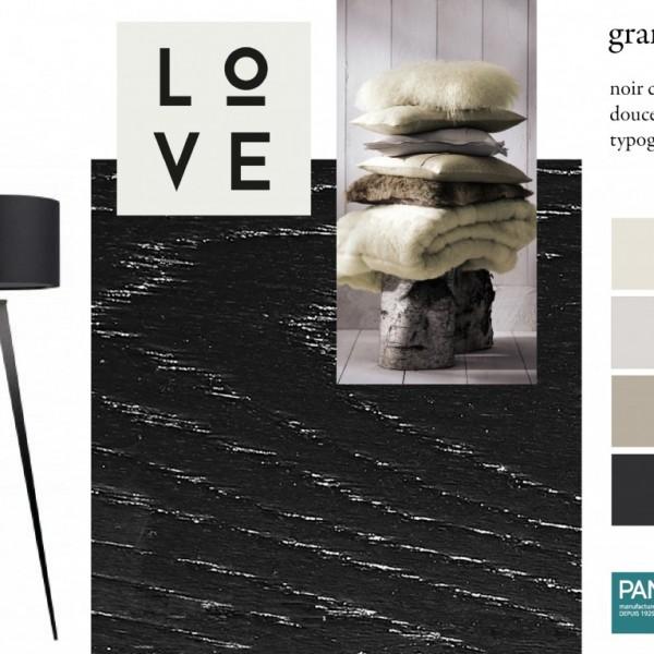 Parquet chêne Granit, collections Panaget / Idées déco : audace et matières luxueuses pour ce parquet noir à reflets.