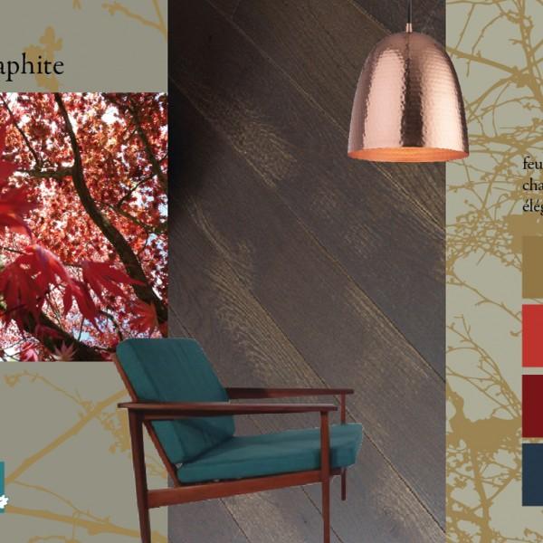 Parquet chêne Graphite, collections Panaget / Idées déco : ambiance feutrée avec des couleurs automnales et une touche de cuivre.