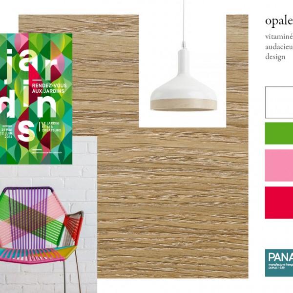 Parquet chêne Opale, collections Panaget / Idées déco : des couleurs toniques (rouge, rose, vert) pour un intérieur lumineux, contemporain et design.
