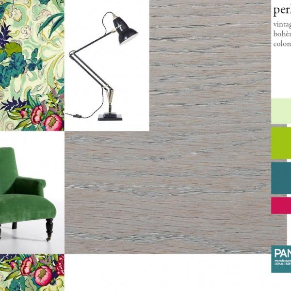 Parquet chêne Perline, collections Panaget / Idées déco : un style british girly teinté d'un brin de rétro pour ce parquet d'un gris subtil.