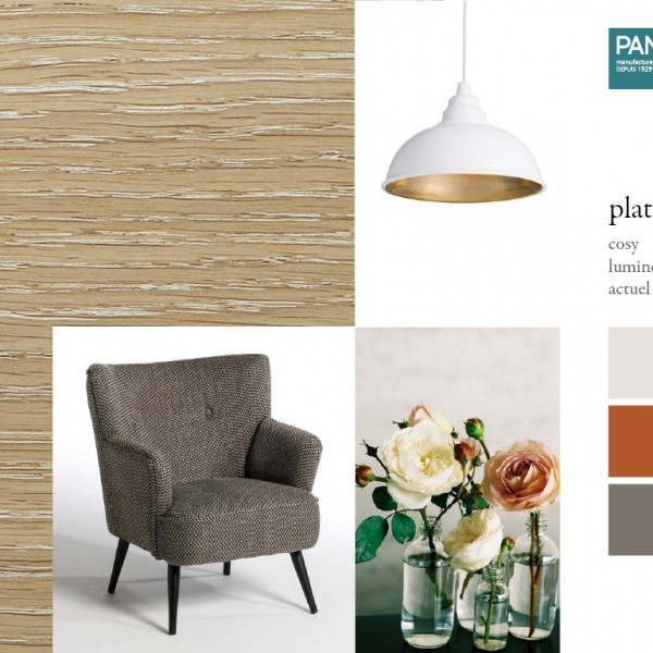 Parquet chêne Platine, collections Panaget / Idées déco : ambiance douce et feutrée dominée par des couleurs naturelles évoquant la terre.
