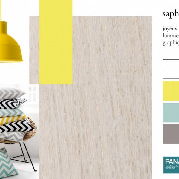 Parquet chêne Saphir, collections Panaget / Idées déco : esprit graphique dans une ambiance très lumineuse, relevée par une pointe de jaune.