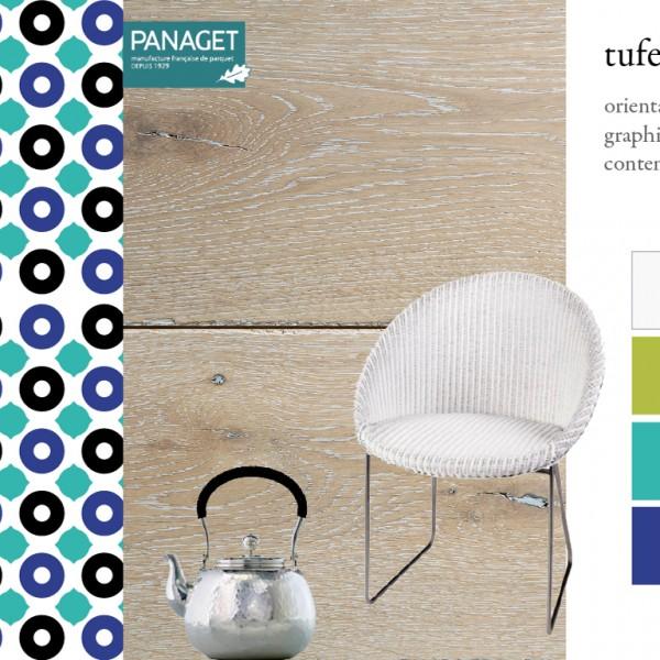 Parquet chêne Tufeau, collections Panaget / Idées déco : un style oriental contemporain, avec du mobilier blanc et des couleurs vives (bleus, vert)
