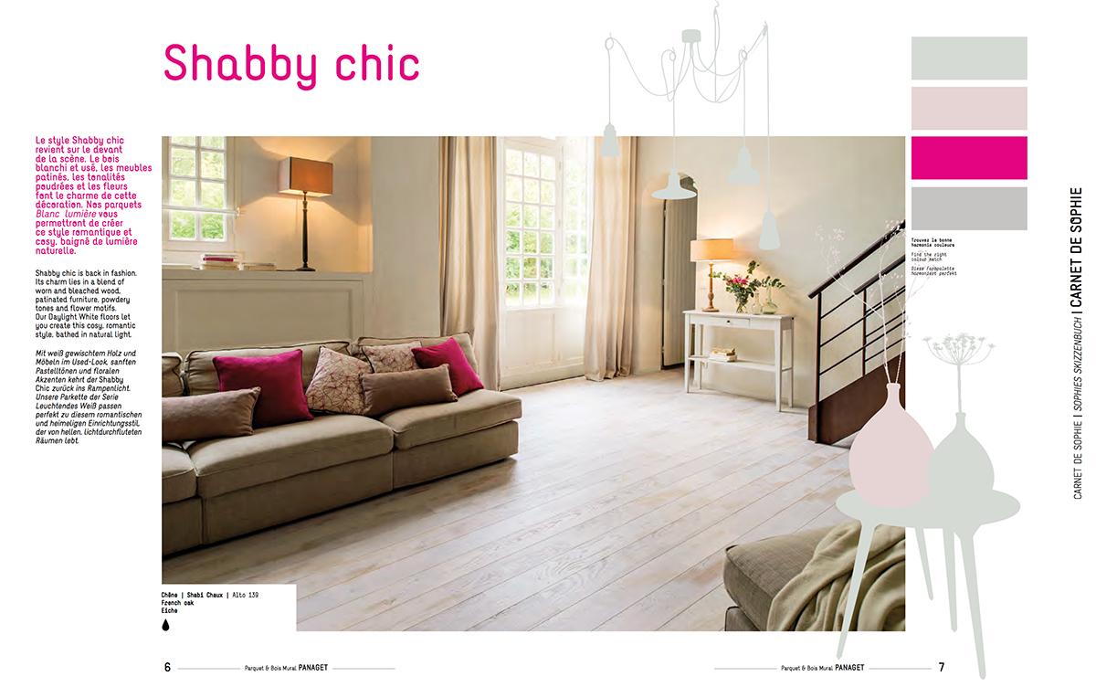 Tendance Shabby chic, parquet blanc vintage.
