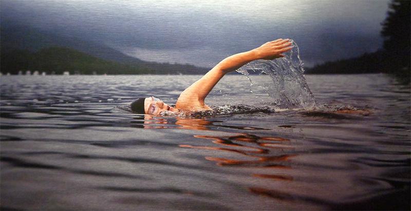En eau libre. Détail de la composition murale. Photo haute définition imprimée sur plaque d'aluminium brossé.